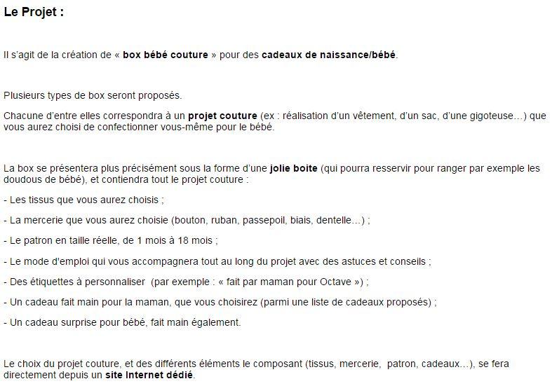 Exemple Du Questionnaire De L Etude Box Bebe Couture