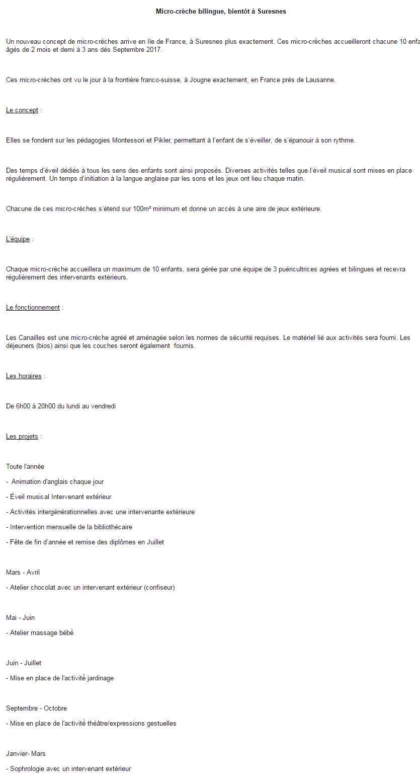 Exemple Du Questionnaire De L Etude Micro Creche Bilingue